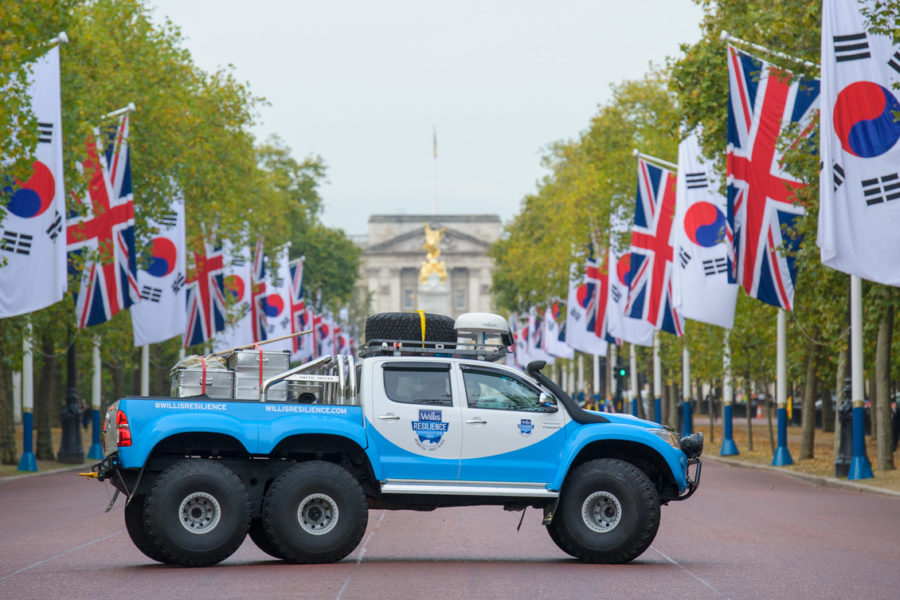 20131108       Copyright image 2013©  The Willis Resilience Expedition Truck, the most fuel efficient Antarctic vehicle ever, makes it's debut through London before Parker Liautaud leads an expedition to the South Pole. The 19 year old explorer and climate change campaigner Parker Liautaud's will be leading a research expedition to the South Pole.  For further info please contact Emily Conrad-Pickles at Captive Minds 07799 414 790  For photographic enquiries please call Anthony Upton 07973 830 517 or email info@anthonyupton.com  This image is copyright Anthony Upton 2013©. This image has been supplied by Anthony Upton and must be credited Anthony Upton. The author is asserting his full Moral rights in relation to the publication of this image. All rights reserved. Rights for onward transmission of any image or file is not granted or implied. Changing or deleting Copyright information is illegal as specified in the Copyright, Design and Patents Act 1988. If you are in any way unsure of your right to publish this image please contact Anthony Upton on +44(0)7973 830 517 or email: